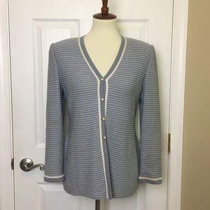 Vintage St. John Blue Santana Kit Cardigan Size 2